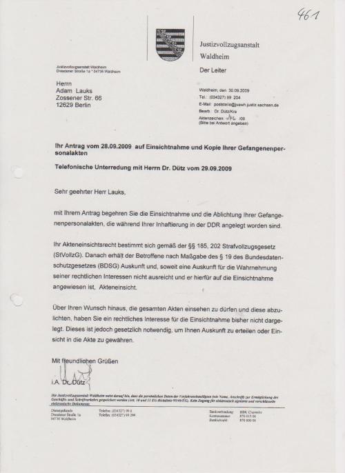 Endlich gefunden die Gefangenenpersonalakte - JVA Waldheim rüvckt die nicht raus !=?