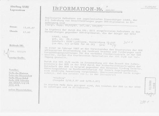 HA XXII Lagezentrum 13.05.87 Meldung DE Abt.XXII/4 Drohungen - Oberst Zorn