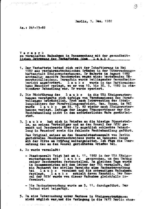 V e r m e r k zu veranlassten Maßnahmen in Zusammenhang mit der gesundheitlichen Betreuung des Verhafteten Adam L a u k s - 7.Dez. 1982