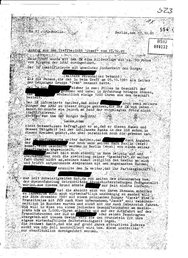 """IM Bericht vom 17.10.1981 IM """"Josef"""" berichtet über  den Händler aus Westberlin, der bis  zu jenem Zeitpunkt weit über eine Million Uhren in die DDR geliefert haben muss."""