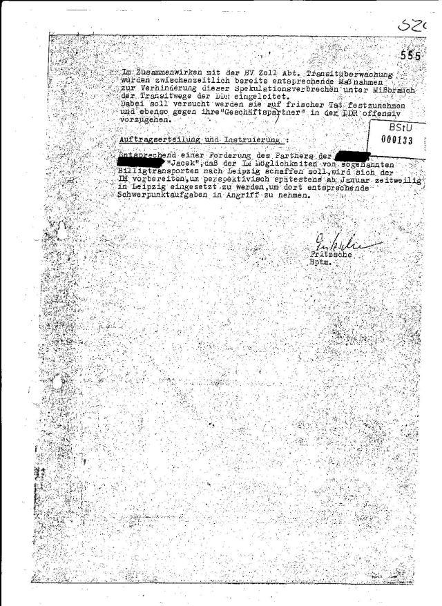 """""""Ebensi war ihm der Bürger der SFRJ Lauks, Adam nicht bekannt. Dazu befragt, gab er an, dass er diesen Namen und dessen Tätigkeit bei der Ljubljanska Banka in der DDR schon in diesen Kreisen gehört hat,  ihn persönlich aber nie gesehen hat."""