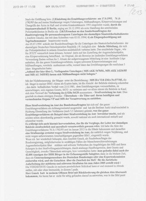 Soll das heißen, wenn Deutschland das Völkerrecht missachtend keinen § FOLTER im StGB hat, das ich nicht sagen darf dass ich in der DDR gefoltert wurde...Warum das große (Ver)Schweigen...