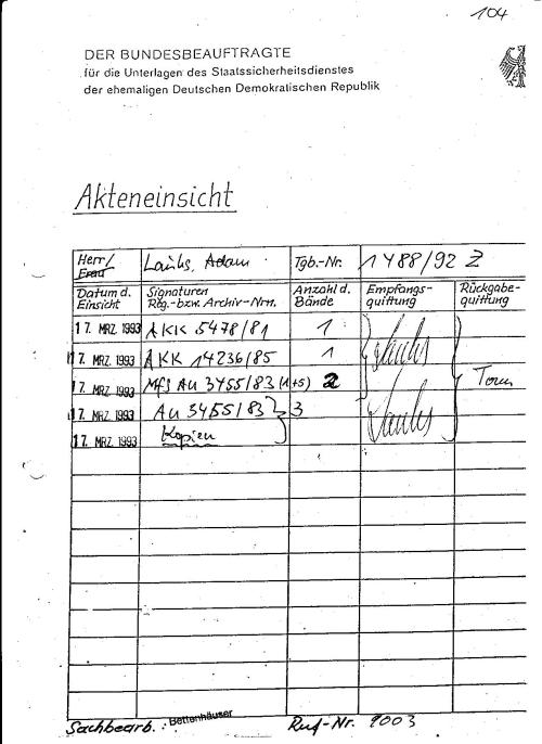 AKK 5478/81; AKK 14236/85 MfS Au 3455/83 (1+5) Diese Akte sollen vorgelegen haben aus AU 3455/83 habe ich 3 Kopien mitgenommen am 17.März 1993