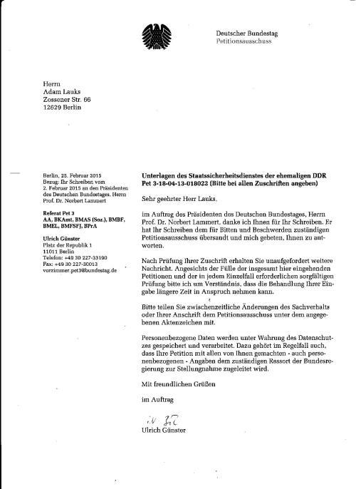 Petition gegen Urkundenunterdrückung in der Gauck Behörde 1994 unter Joachim Gauck und 2012 und 2013 unter Roland Jahn wurde im Auftrag des Bundestagspräsidenten dem Petitionsausschuss zur Prüfung zugeleitet.