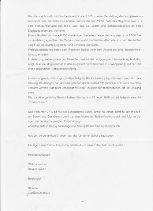 Wurde das Ermittlungsverfahren wegen Unwissenheit eingestellt oder gab es eine telephonische Order aus der CDU Parteicentrale oder vom Landgericht, das im Falle der Verurteilung des ehemaligen MfS-Mann als RA und Organ der Rechtspflege