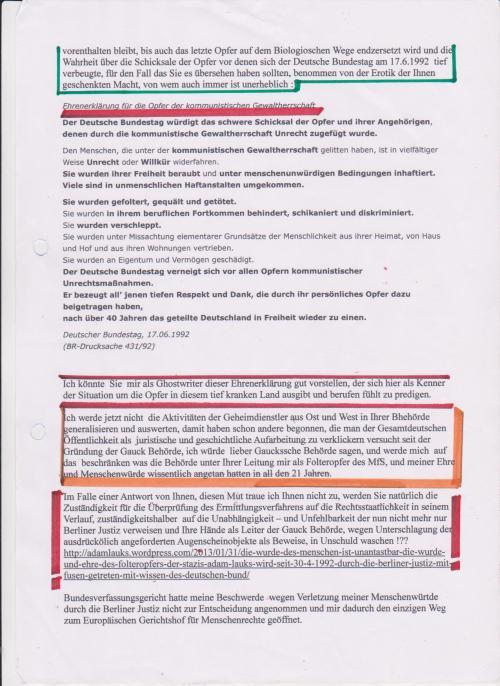 Er unterdrückte die Ergebnisse seiner Sonderrechercheure - ließ 35 Seiten der Behördenvorgangs vetrschwinden, Spuren zu verwischen, dass er persönlich die Recherche einleiten ließ von den zwei STASIS.