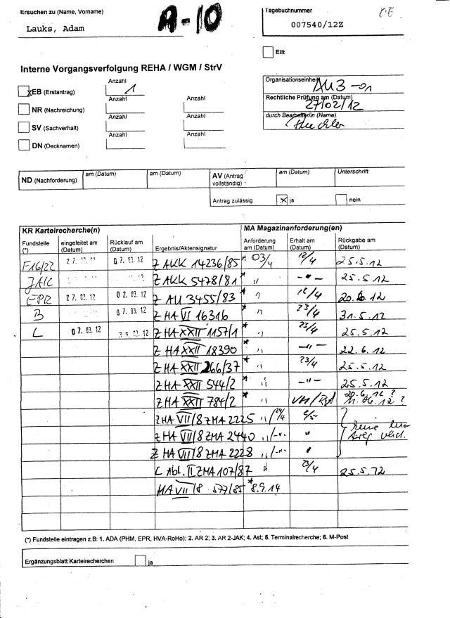 Interne Verfolgung REHA / WGM / StrV Die Büchler und Martin unterdrücken due Akte MfS HA VII/8 Nr. 577/85 und 462/84 weil die BRISANT sind und vielk sagend über das Schicksal des Opfers im OV