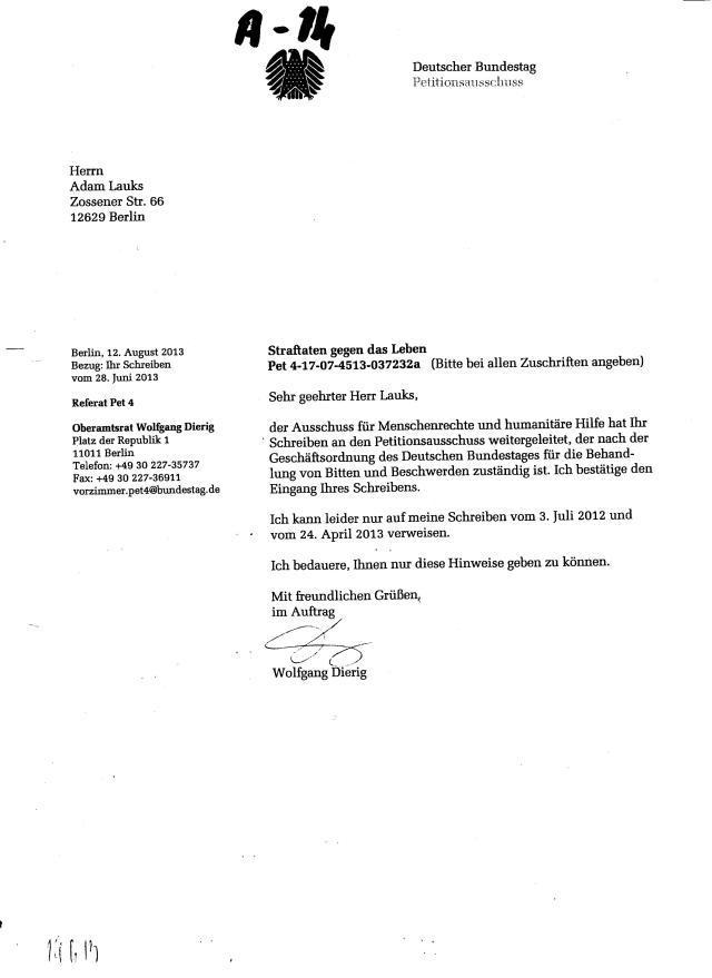 Dierig bestätit den Eingang der Paet.des Ausschusses für Menschenrechte 001