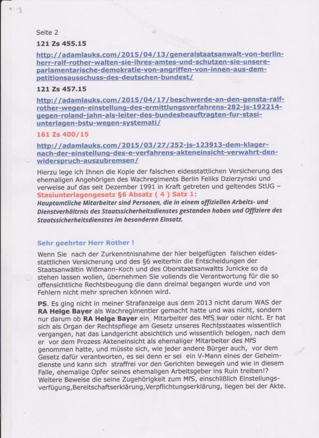 Eine Offene Strafanzeige und Strafantrag an den Generalbundesanwalt Harald Range wurde ihnen zuständigkeitshalber zugeleitet...