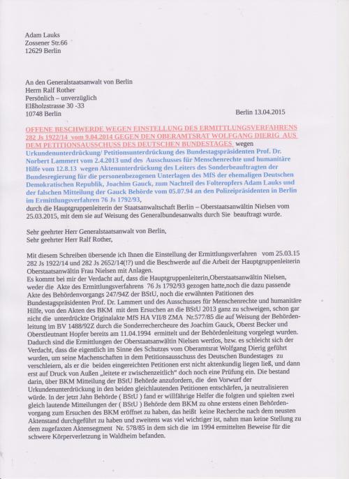 Mit diesem Schreiben übersende ich Ihnen die Einstellung der Ermittlungsverfahren:...