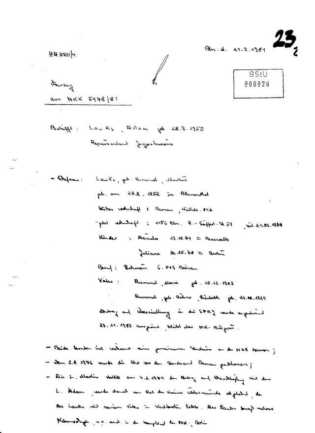 Bln.d. 21.9.1981 BStU MfS AKK 5478/81 Auszug: Betreff: Lauks Adam grb.28.7.1950 Repräsentant Jugoslawiens