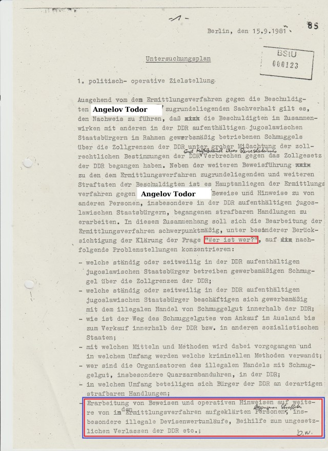 Untersuchungsplan beweist schon mit der Frage Who is Who ? dass die HA IX über das was seit 1979 - 12.8.1981 und weiter bis April 1982 gelaufen ist keinen blassen Schimmer hatte.