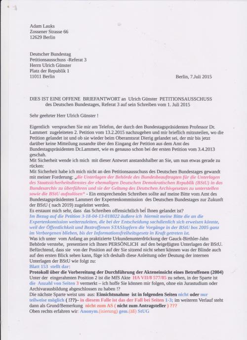 Was ich unter,die vom Anfang an praktizierte, Urkundenunterdrückung der Gauck - Birthler - Jahn Behörde verstehe, presentiere ich Ihnen PERSÖNLICH auf den beigefügten Unterlagen der BStU.