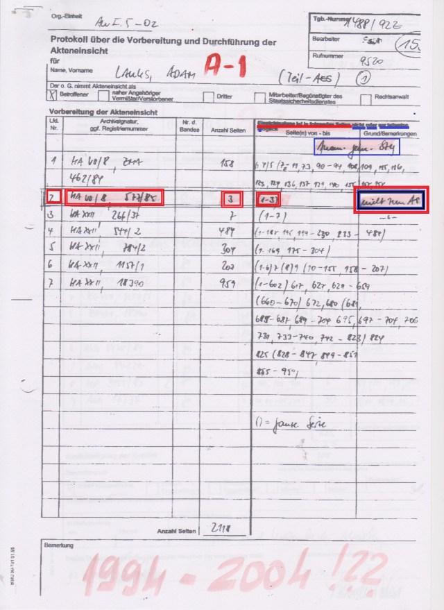 Die dreifache Unterdrückung der Akte MfS HA VII/8 ZMA Nr.577/85 wurde zweimal von Joachim Gauck und 2004 von der Marianne Birthler wissentlich und absichtlich begangem, weil darin enthaltene schwere Körperverletzung noch NICHT VERJÄHRT war!