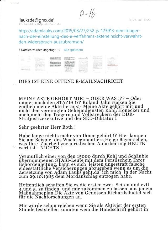 Hier können Sie am Beispiel des Wachregimentlers Helge Bayer sehen, was IHRE oder EURE Zuarbeit zur juristischen Aufarbeitung HEUTE wert ist - NICHTS !