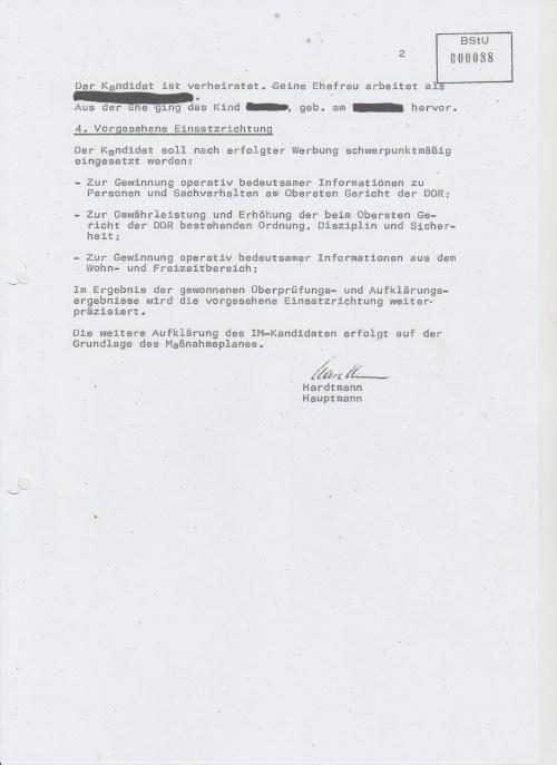 Vorschlag zum Anlegen einer IM-Vorlaufakte uber den DDR Bürger Arnold Jörg