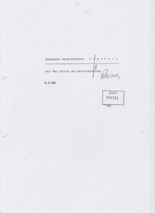 Bericht an den Leiter Kienberg
