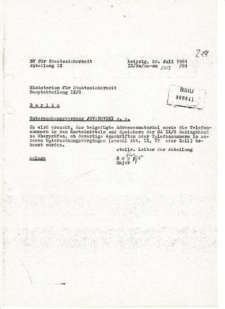 Antrag auf Unterstützung an IX/8 aus der BV Leipzig bleibt unbeantwortet. Es hat aber lange gedauert bis Generalmajor Humitzsch sich geoutet hat dass es einen Untersuchungsvorgang gibt, obwohl er nicht sagt worum esw sich deliktmäßig handelt.