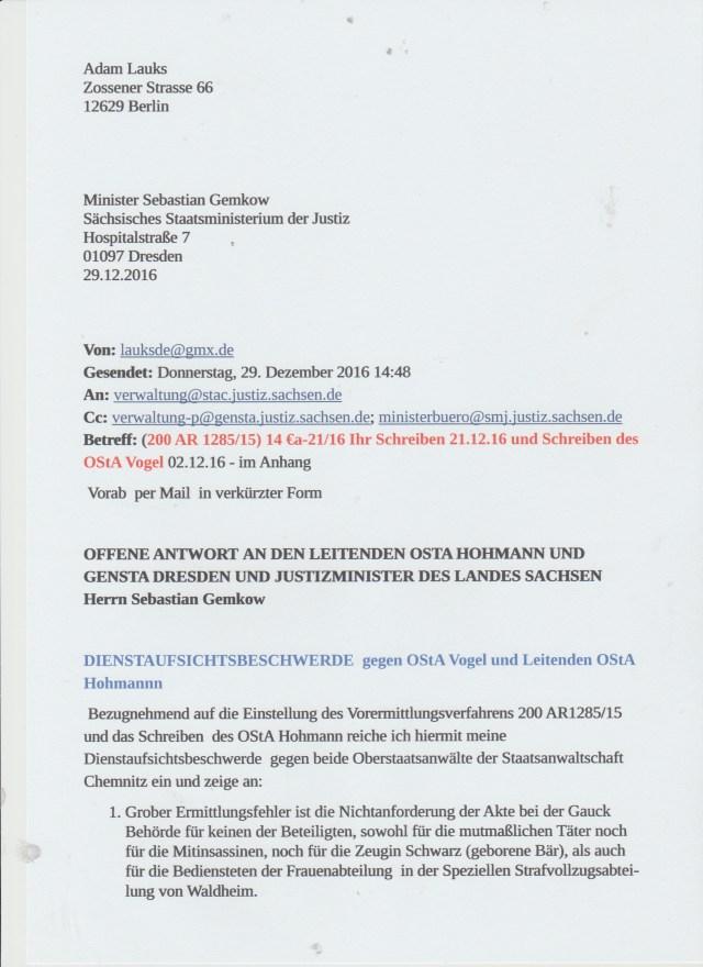 OStA Vogel darf nicht weiter ermitteln im Falle Ursula - Jurek Krafczyk !? - Warum wohl???