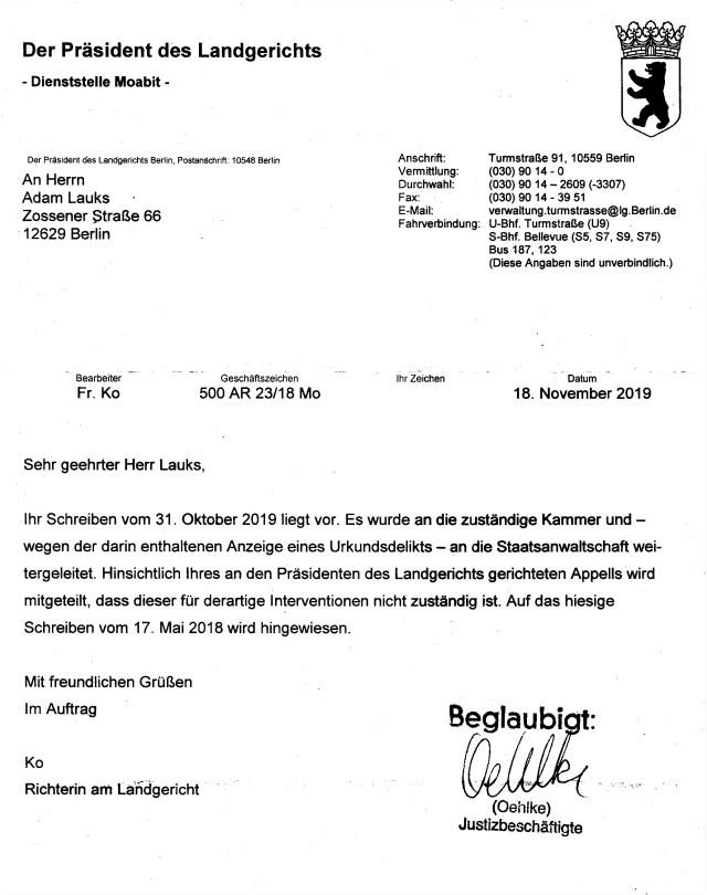 Urkundsdelikt am Landgericht - Kammer 551