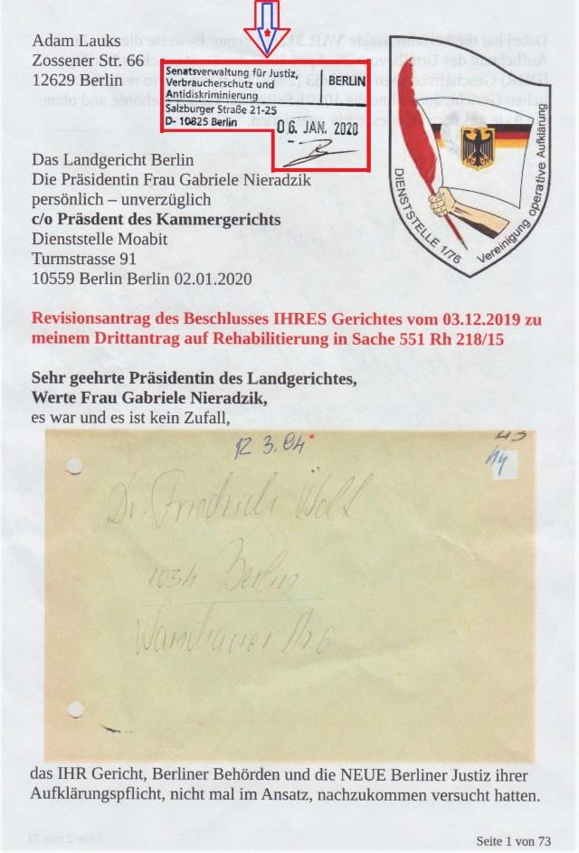 Adam Lauks vs Berliner Justiz und BStU