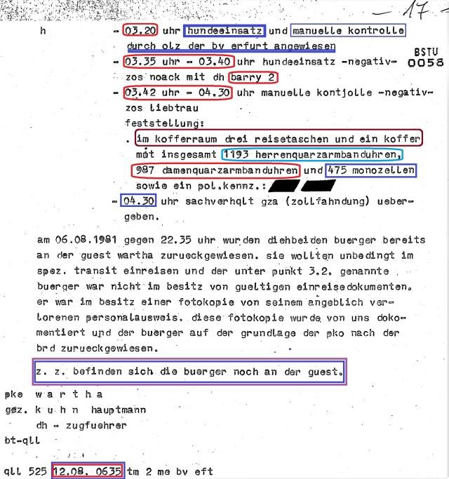 """MfS erster """"Erfolg"""" im Kampf gegen Wirtschaftsdiversion - Code """"Ruhlaqurz"""""""