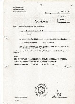 """Ilija Jivanovski hatte NIEMALS """"das Verbringen von Bürgern der DDR in das kapitalistische Ausland vermittels falscher Grenzübertrittsdokumente vorbereitet! Er war unschuldig verhaftet worden, er ist Opfer eines unbetittelt bekassenen politischen Operativ Vorgangs des MfS geworden."""