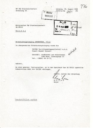 Anfrage der HA IX BV Leipzig an die HA XVIII - Schutz der Volkswirtschaft