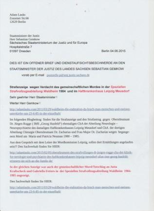 Minister der sächsischen Justiz hatte offensichtlich nicht für nötig zu antworten.