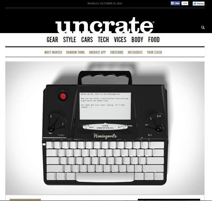 Hemingwrite on Uncrate.com