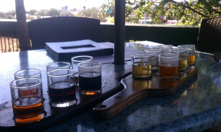 Beer flights at De la Vegas' Pecan Grill & Brewery