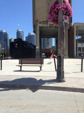 Walking through Roundhouse Park in Toronto
