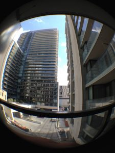 Fisheye view from our condo balcony