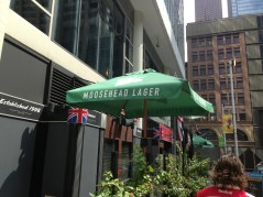 Moosehead Beer umbrella at one of the bars in Toronto