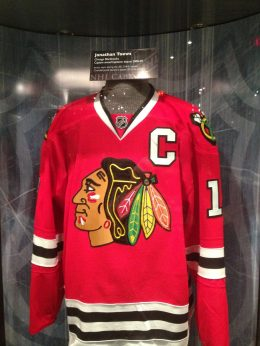 Jonathan Toews jersey at the Hockey Hall of Fame