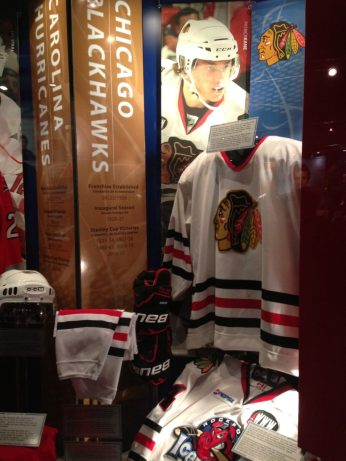 Blackhawks display at the Hockey Hall of Fame