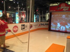 Dan shooting at the virtual goalie in the HHOF