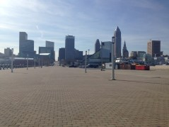 View of RRHOF and downtown Cleveland from outside near Lake Erie