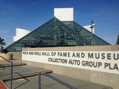 An outdoor view of the Rock and Roll Hall of Fame