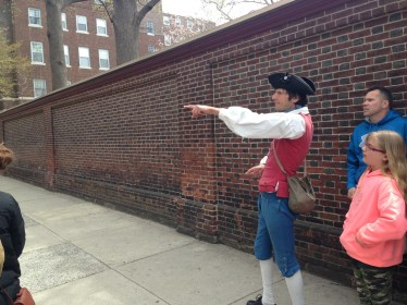 Tour guide pointing the way on the Constitutional Walking Tour, Philadelphia