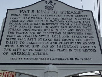 Pat's King of Steaks historical plaque