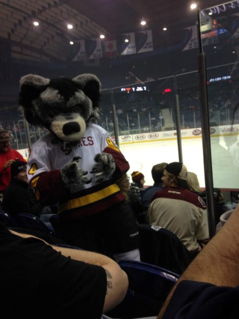 Mascot mugging for the camera