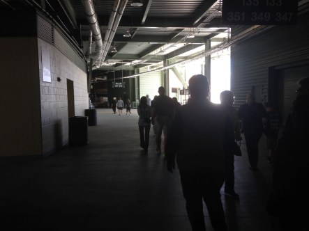 Walking through the stadium heading to the tunnel