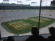 Looking down from exec suites onto the field