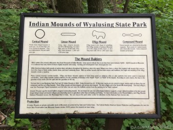 """Wyalusing State Park - """"Indian"""" mounds of Wyalusing sign"""