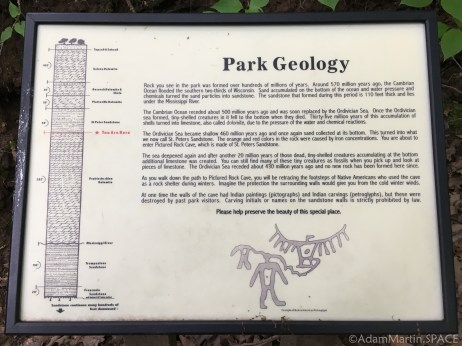 Wyalusing State Park - Park geology sign on the trail