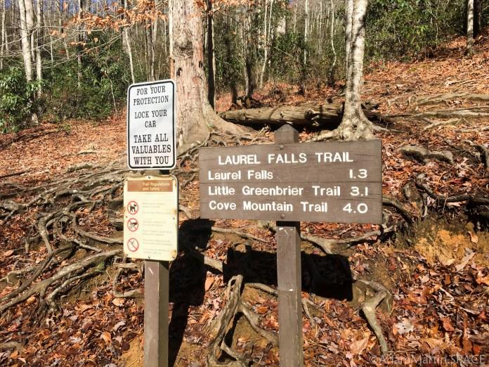 Laurel Falls - Trailhead sign