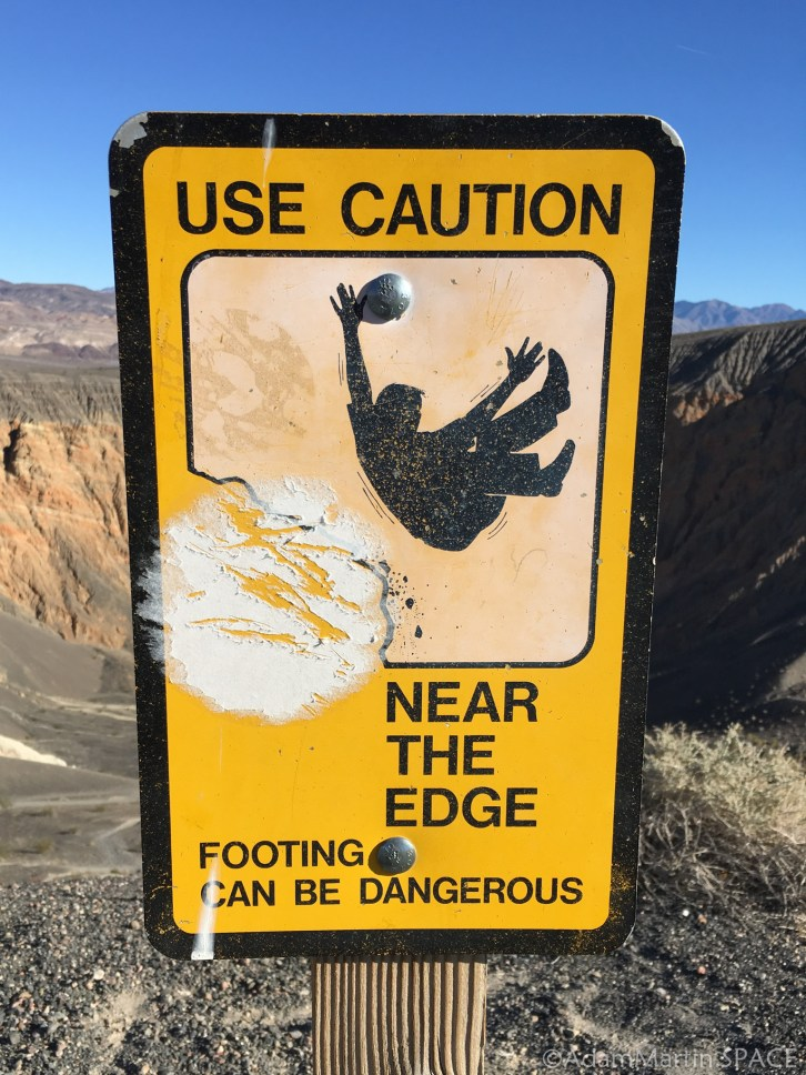 Death Valley - Danger sign at Ubehebe Crater