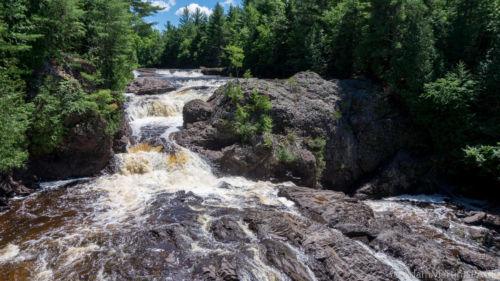 Potato River Falls - Upper falls section looking upstream