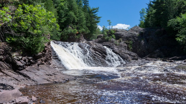 Potato River Falls - Upper falls section looking upstream